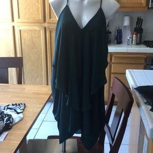 Dark green mini dress